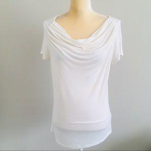 T Tahari Women's White Cowl Neck Blouse Size L